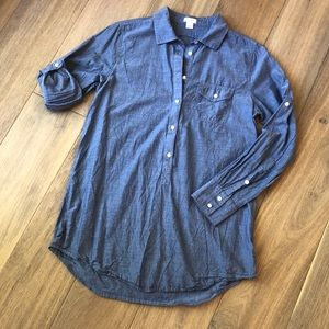 J crew chambray pull over blouse. EUC!